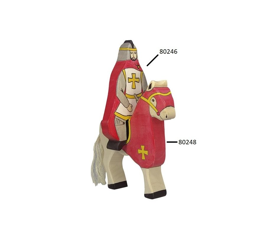 Knight Red Coat Sitting on Horse 80246