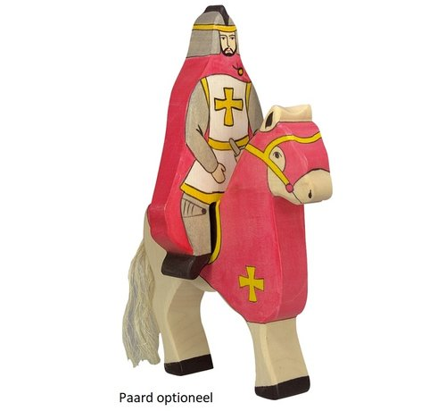 Holztiger Ridder Rode Mantel Zittend op Paard 80246