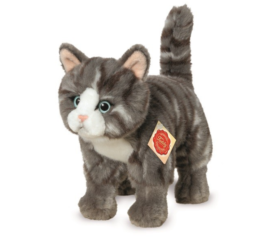 Stuffed Animal Cat Grey Standing
