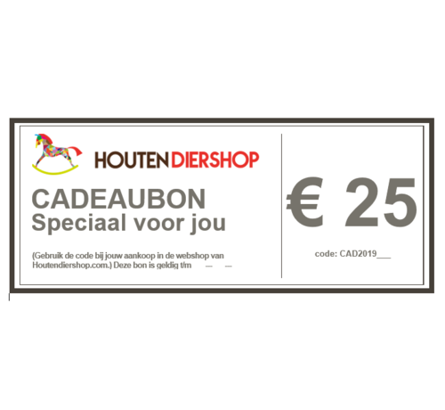 Houtendiershop Cadeaubon 25 Euro