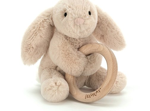 Jellycat Knuffel Rammelaar Konijn Bunny Wooden Ring Toy