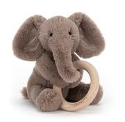 Jellycat Knuffel Rammelaar Olifant Shooshu Elephant Wooden Ring Toy