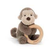 Jellycat Knuffel Rammelaar Aap Shooshu Monkey Wooden Ring Toy