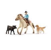 Schleich Speelset Western Paard met Ruiter, Kalf en Hond 42419