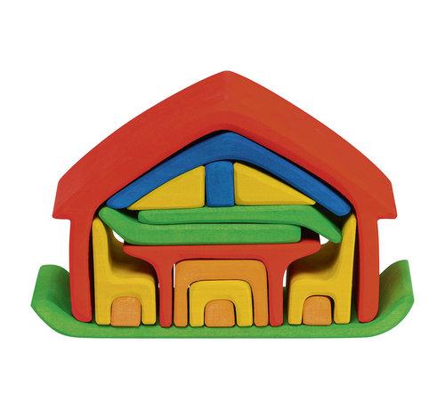 Glückskäfer Poppenhuis Meubelhuis Rood/Blauw Hout