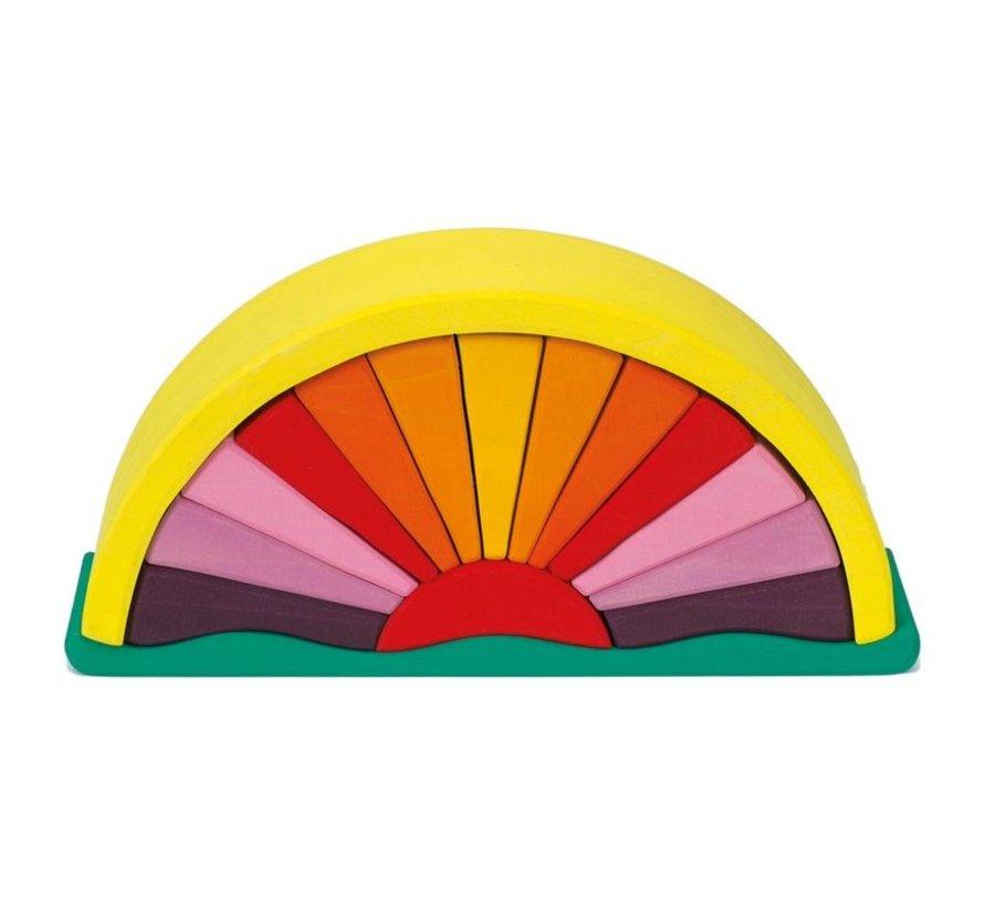 Zonnestralenboog Geel Groen Hout