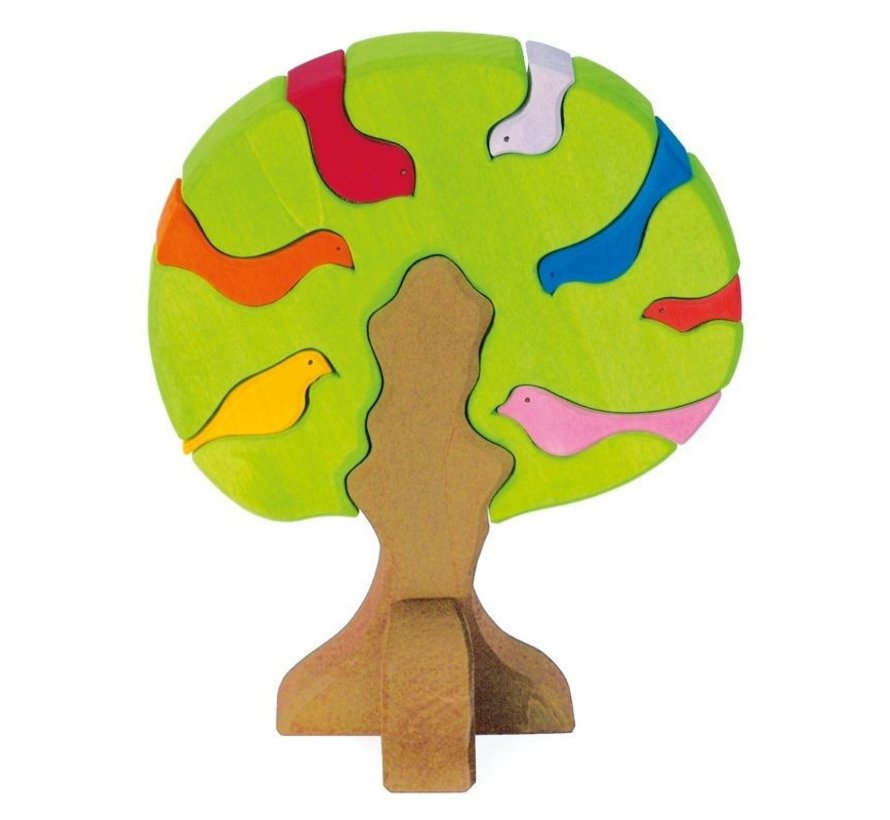 Vogelboom Bonte Lichte Kleuren 9-delig Hout