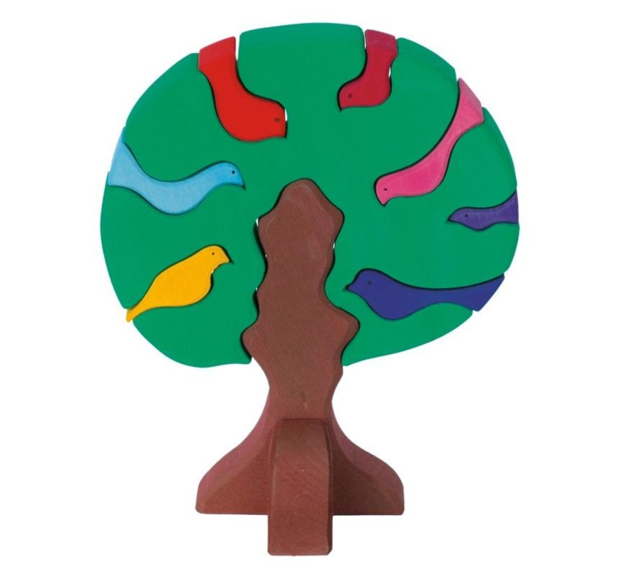 Vogelboom Bonte Donkere Kleuren 9-delig Hout