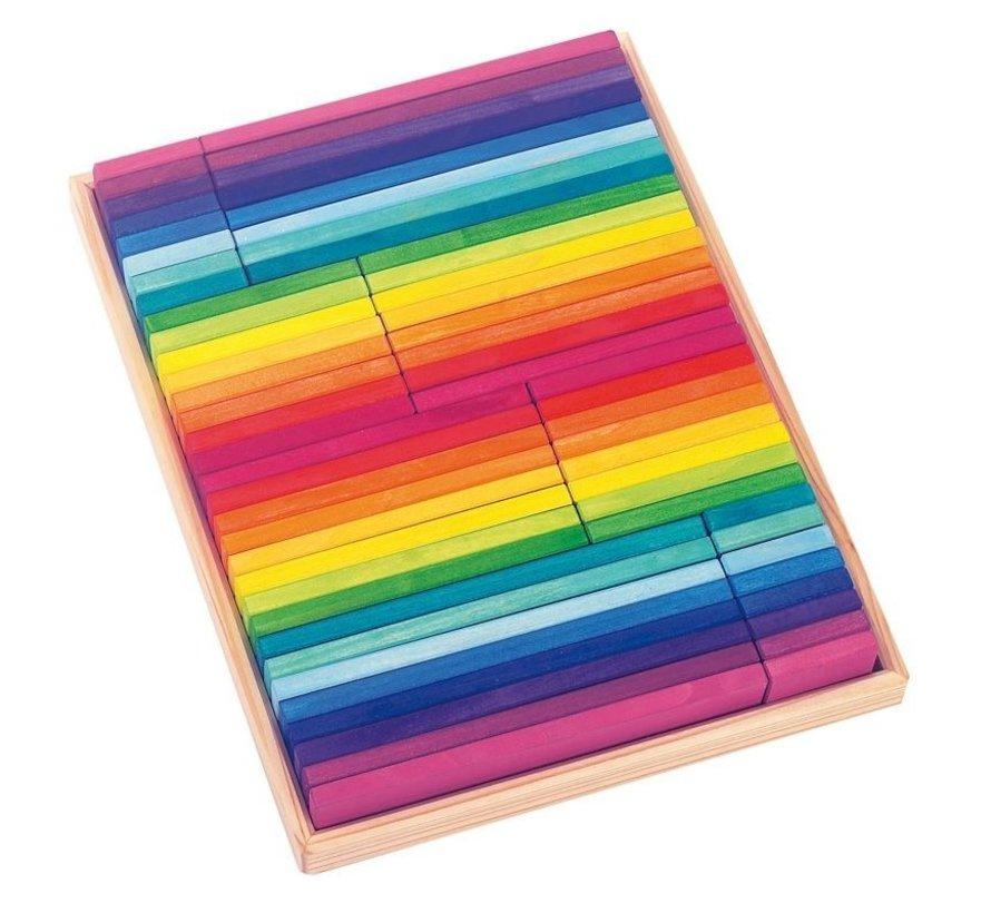 Blokkendoos Regenboogkleuren 64-delig Hout