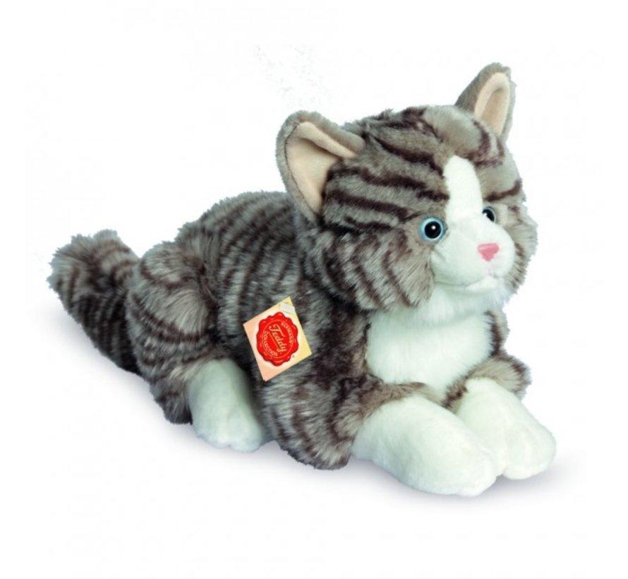 Knuffel Kat Grijs Getijgerd Liggend
