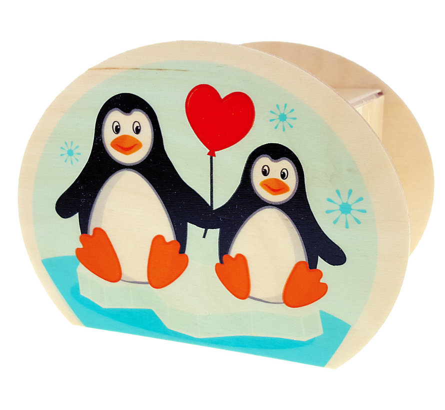 Spaarpot Pinguïn Hout