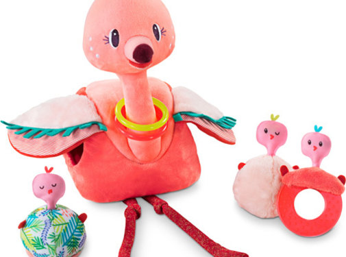 Lilliputiens Knuffel Flamingo Anaïs en haar Baby's