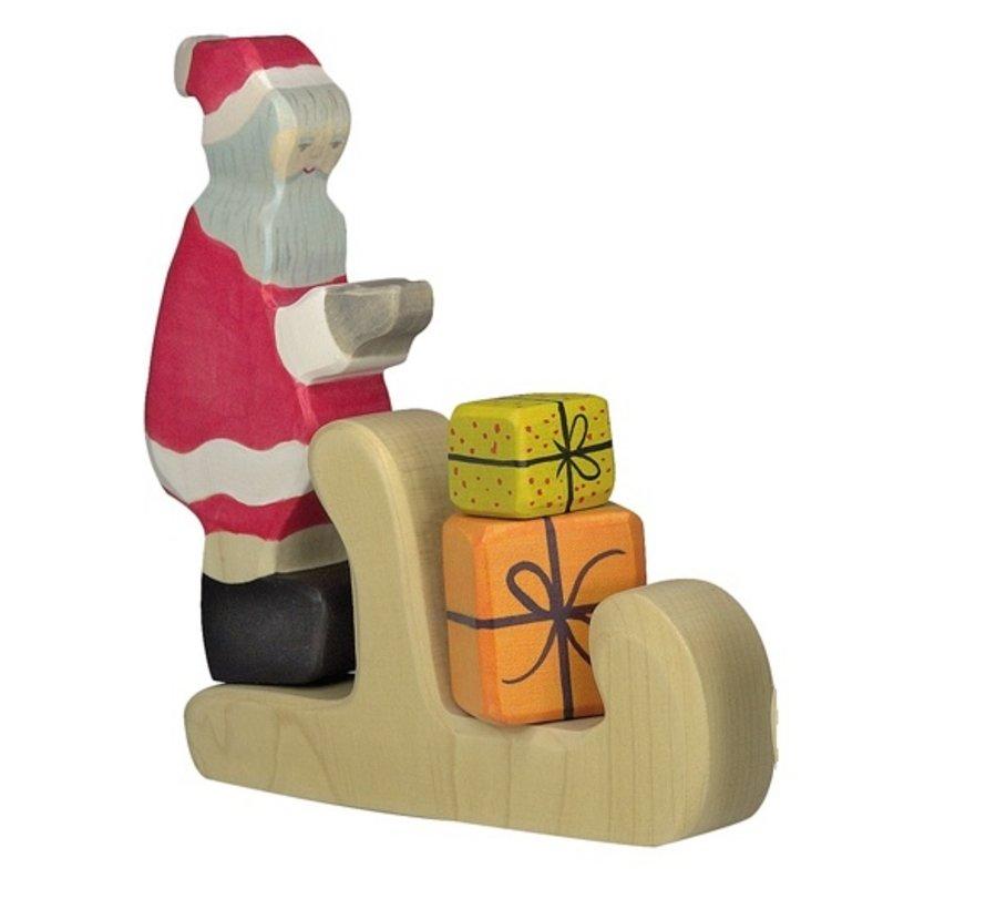 Kerstman met Arreslee en Cadeautjes