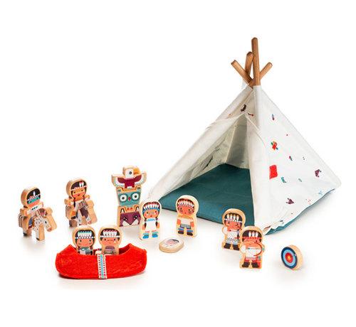 Lilliputiens Speelset Wigwam en Indianen