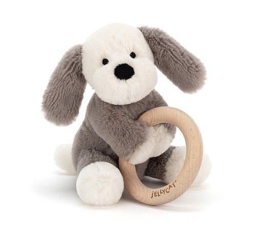 Jellycat Knuffel Rammelaar Hond Shooshu Puppy Wooden Ring Toy