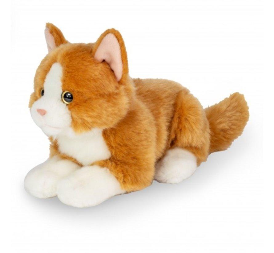 Knuffel Kat Rood Liggend 20 cm