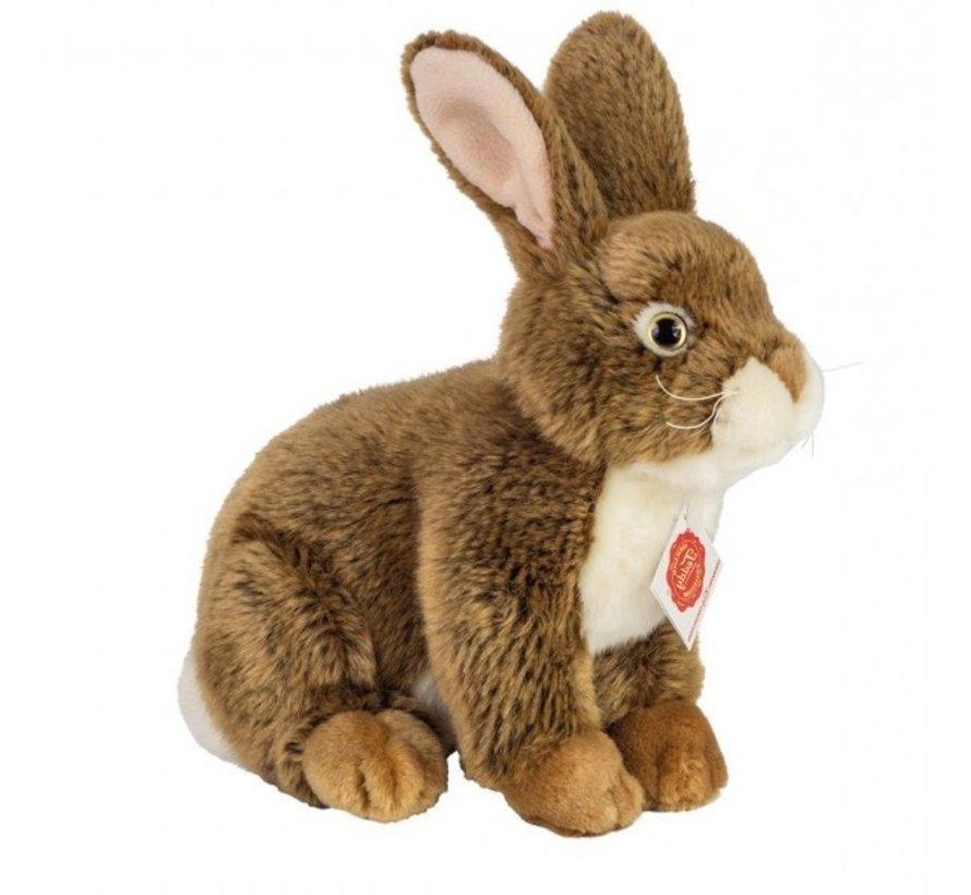 Stuffed Animal Hare Sitting Dark Brown 25 cm