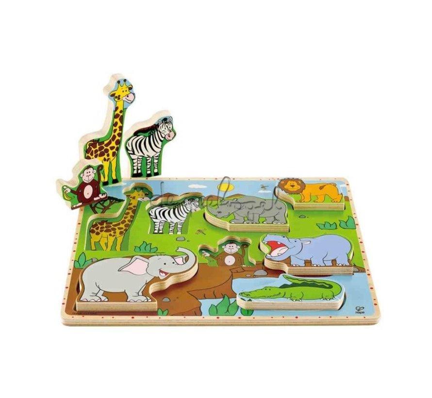 Puzzel met Stadieren Jungle Dieren