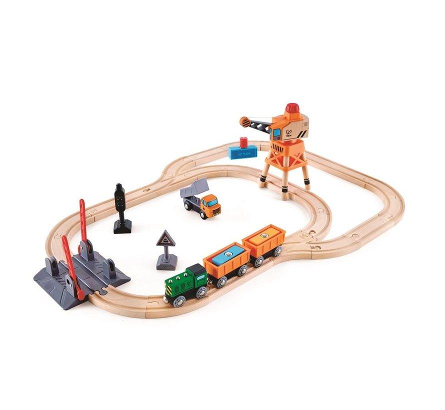 Treinset Spoorwegovergang met Kraan