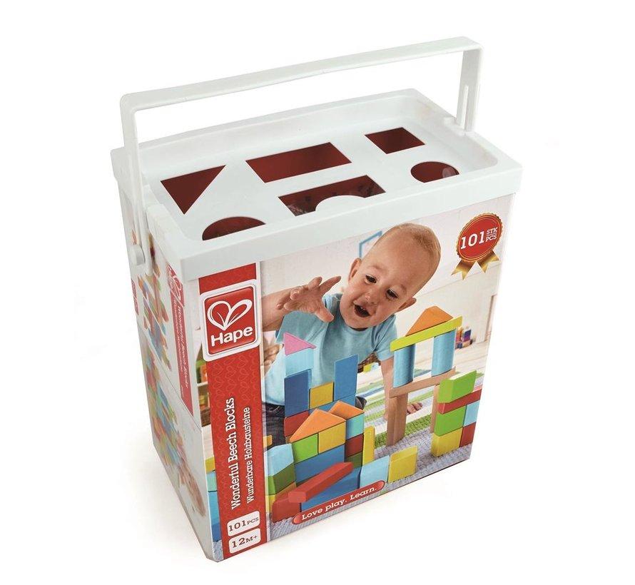Wonderful Beech Blocks, 101 pcs