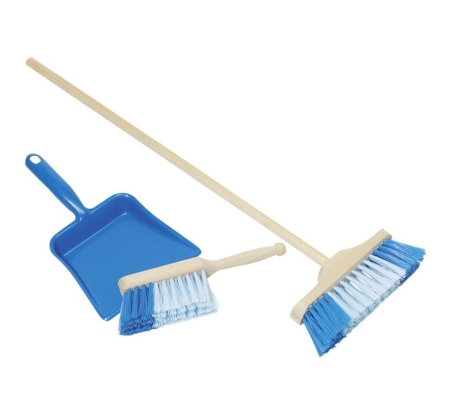Borstel en handveger blauw set
