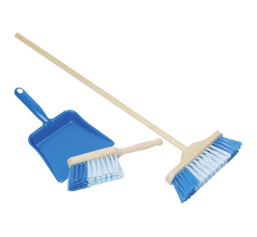 Plastic dustpan, handbroom and broom Blue