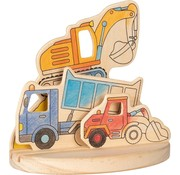 GOKI Wooden colouring picture, construction vehicles