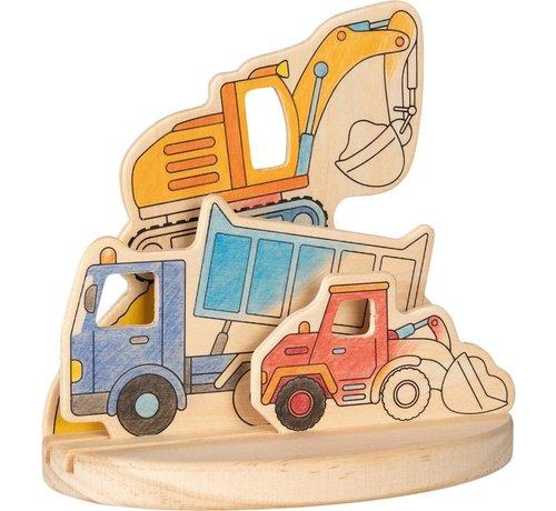 GOKI Kleurplaat 3D Bouwplaats Hout
