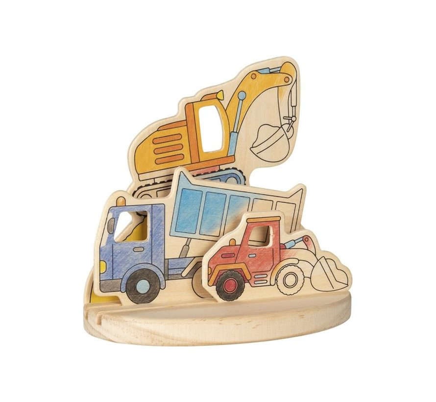 Wooden colouring picture, construction vehicles