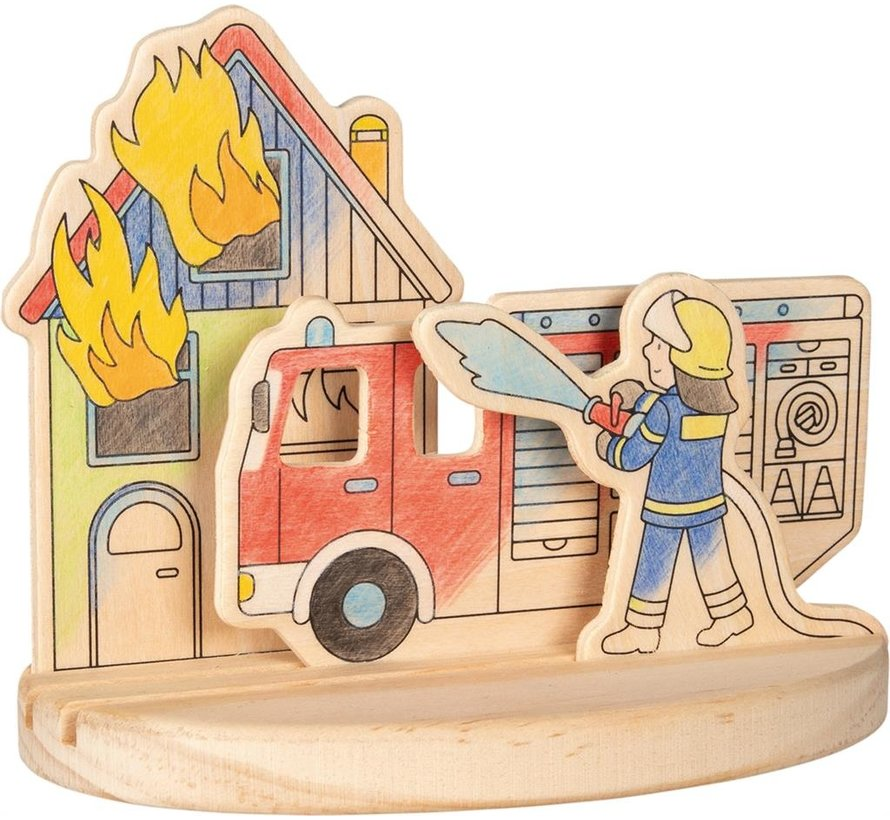 Wooden colouring picture, fire engines