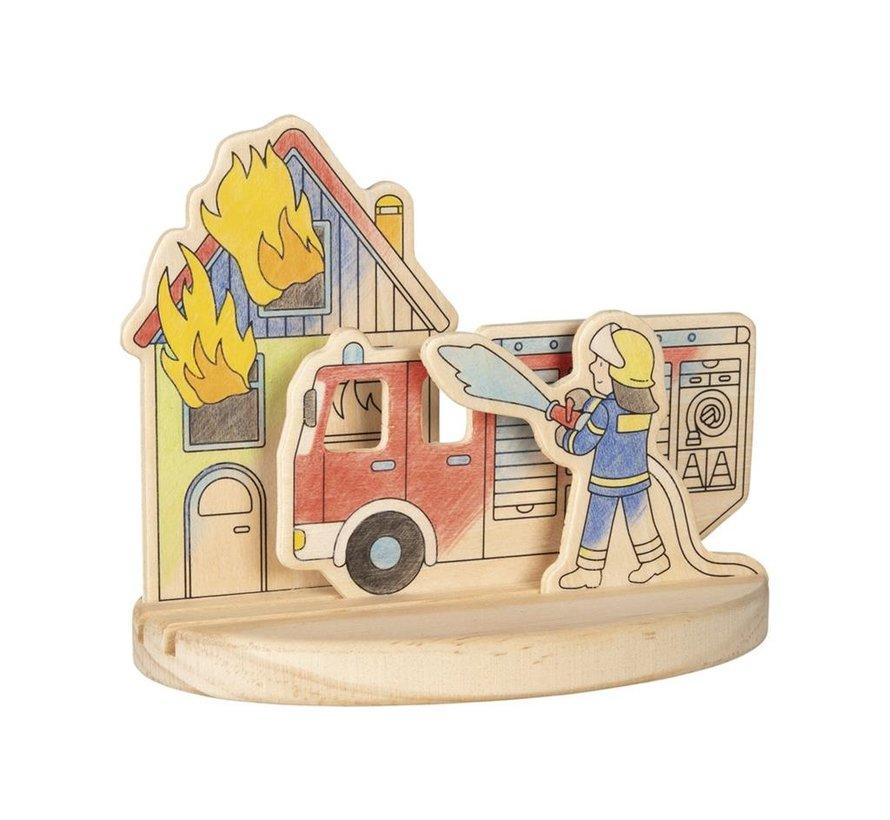 Kleurplaat 3D Brandweer Hout