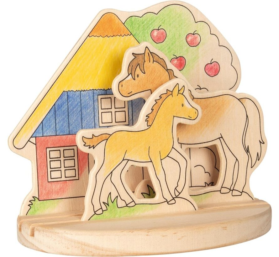 Kleurplaat 3D Paardenmanege Hout