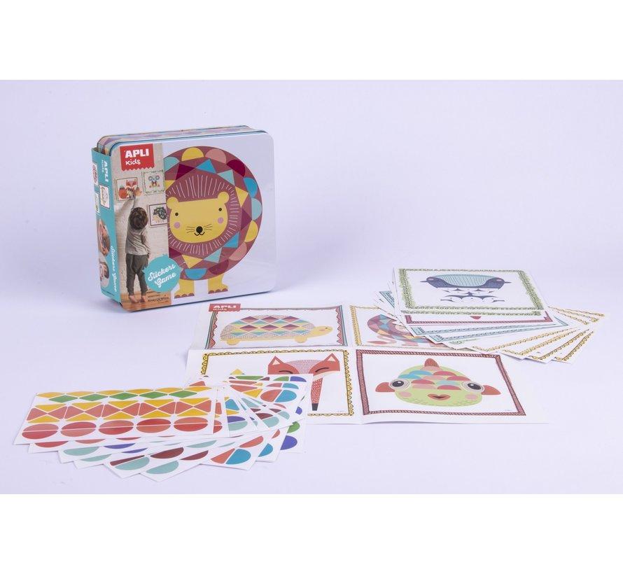 Stickerspel in Blik Geometrische Dieren