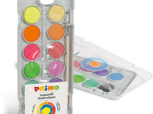 Primo Aquarelverf tablet/penseel ø30mm (8 metal+4 fluo)