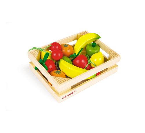 Janod Houten Kistje met Fruit 12-delig