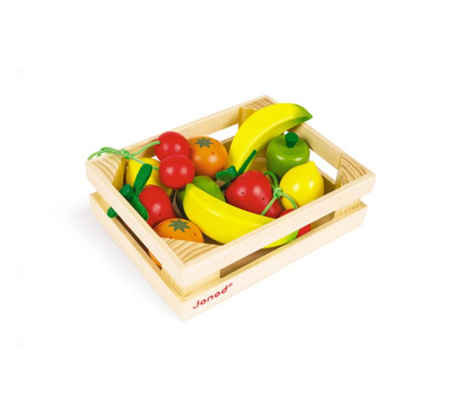 Houten Kistje met Fruit 12-delig