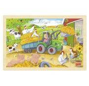 GOKI Puzzel Boerderij met Tractor 24-pcs