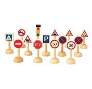 PlanToys Verkeersborden en Lichten Set 14-delig Hout