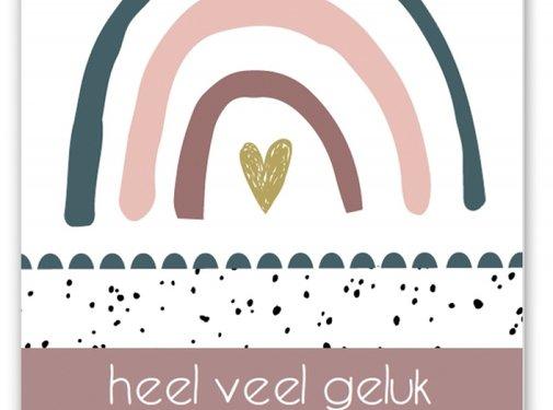 Pepermints Wenskaart Heel veel geluk met jullie kleine uk (regenboog roze)