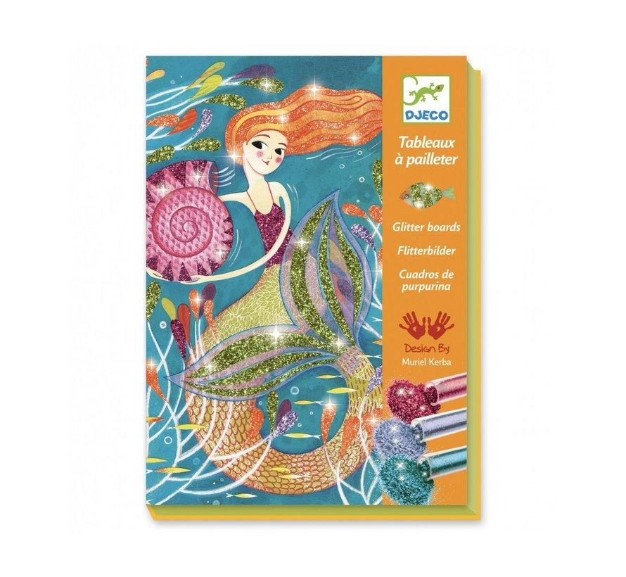 Glitterschilderij Zeemeerminnen