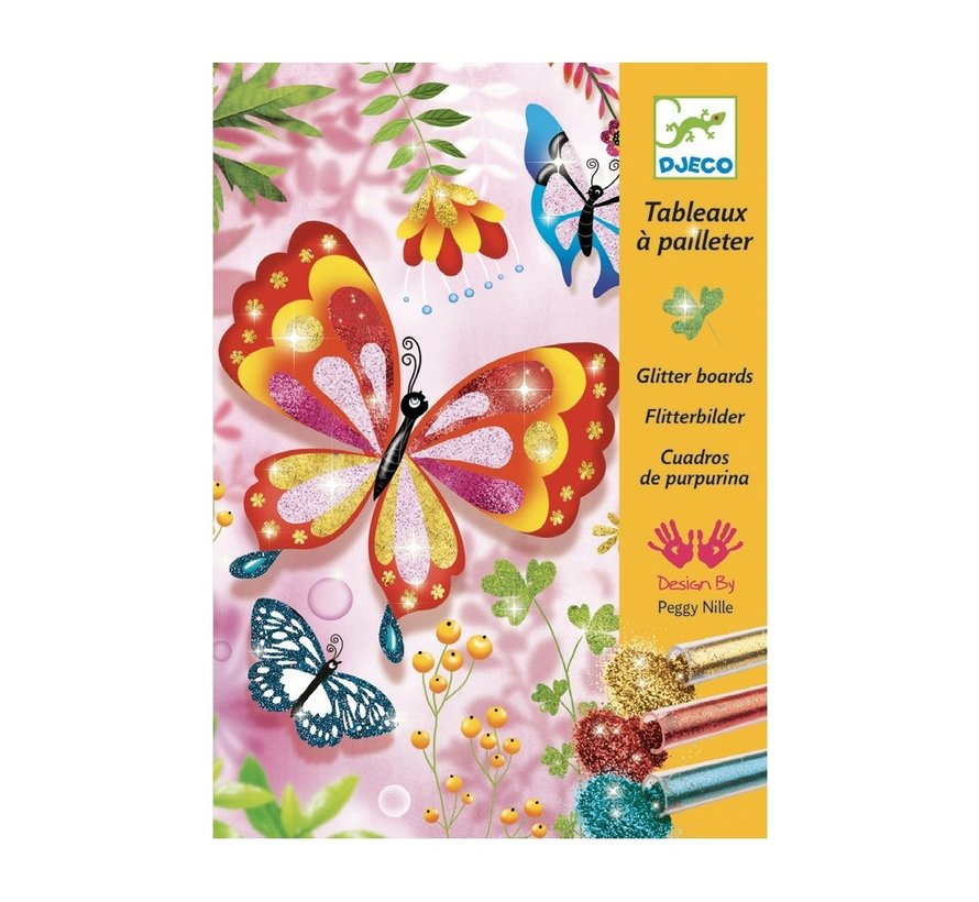Glitterschilderij Bloemen met Beestjes