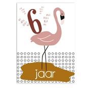 Pepermints Wenskaart 6 Jaar Flamingo