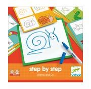 Djeco Tekenkaarten Step by Step Dieren