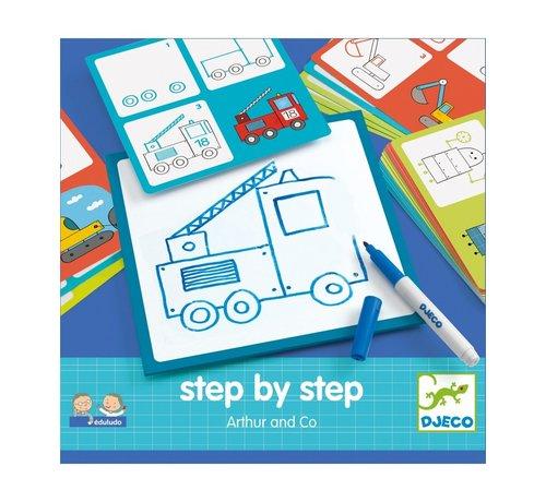 Djeco Tekenkaarten Step by Step Arthur and Co