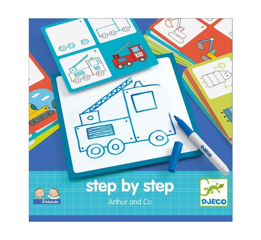 Tekenkaarten Step by Step Arthur and Co