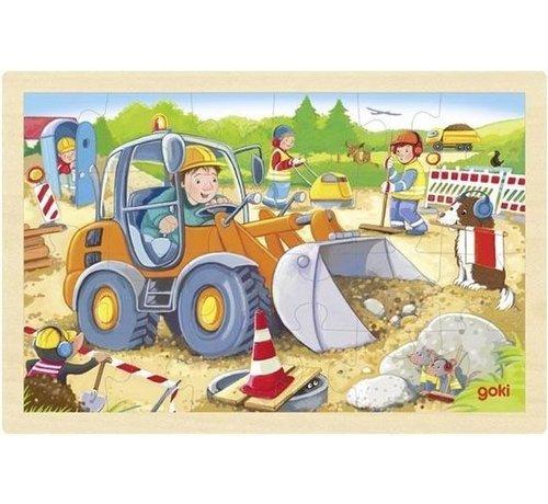 GOKI Puzzel Bouwplaats Hout 24pcs