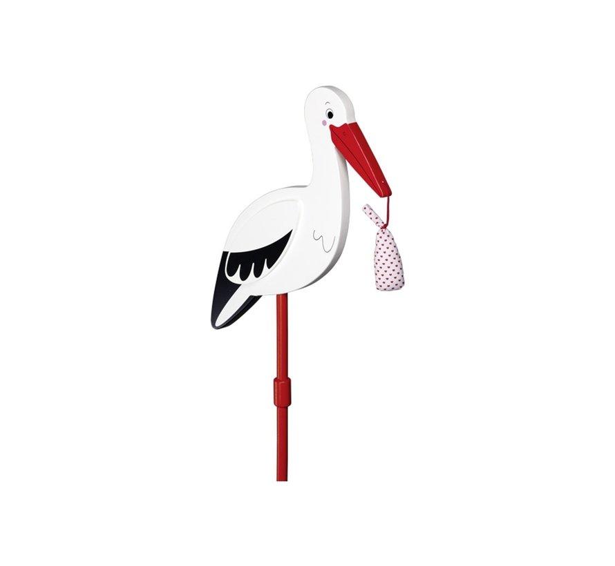 Flower decor stick Stork with baby cloth, XL