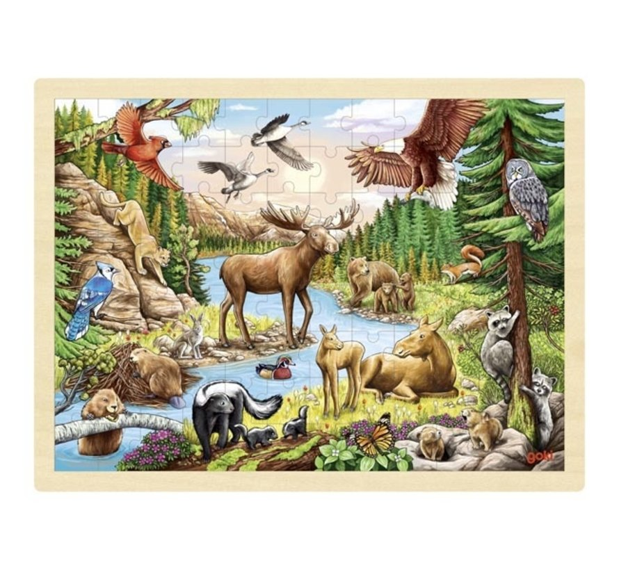 Puzzel Dieren Noord Amerika 96 pcs