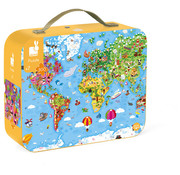 Janod Puzzel Wereld Giant in Opbergkoffer 300 pcs