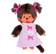Monchhichi Plush Doll Girl Pink Ribbon Dress